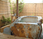 Semi-outdoor bath in room